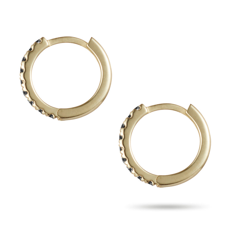 Small Black Diamond Set Huggie Earrings in Yellow Gold