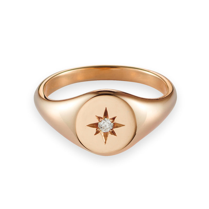Small Diamond Signet Ring in Rose Gold