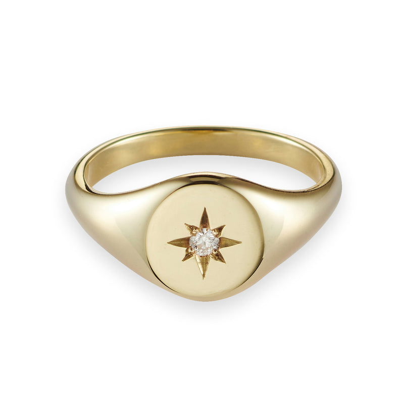 Small Diamond Signet Ring in Yellow Gold