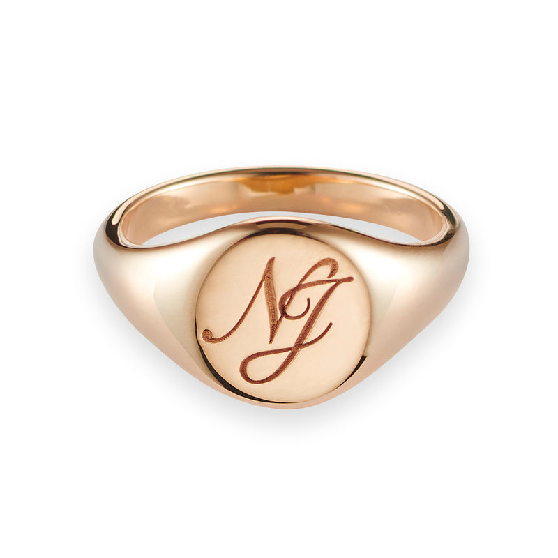 Monogrammed Small Signet Ring in Rose Gold