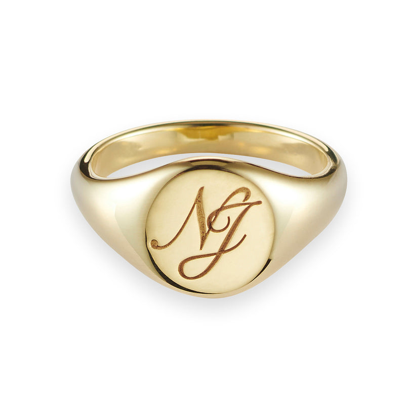 Monogrammed Small Signet Ring in Yellow Gold