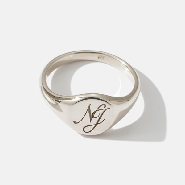 Monogrammed Small Signet Ring in White Gold