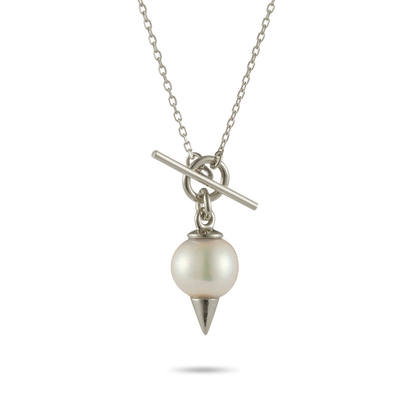 Spiked Pearl Baby T Bar Necklace in Sterling Silver