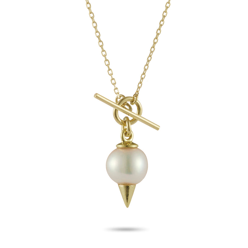 Spiked Pearl Baby T Bar Necklace in Yellow Gold