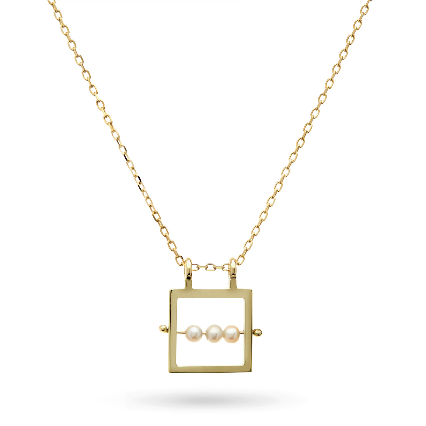 Square Abacus Pearl Necklace in Yellow Gold