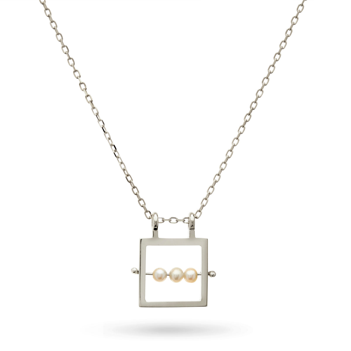Square Abacus Pearl Necklace