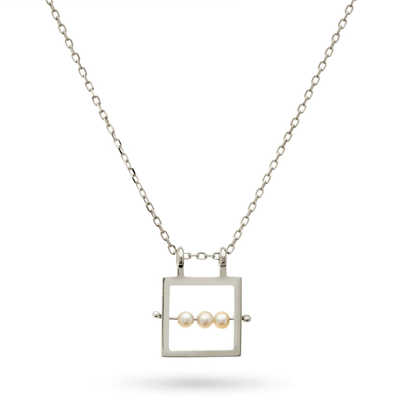 Square Abacus Pearl Necklace in Sterling Silver