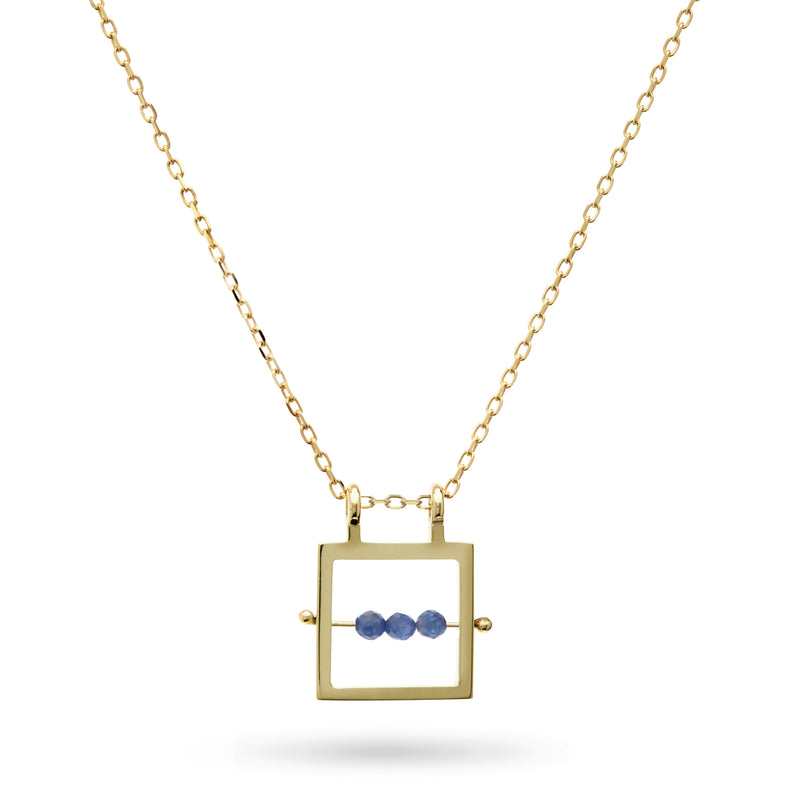Square Sapphire Abacus Necklace in Yellow Gold