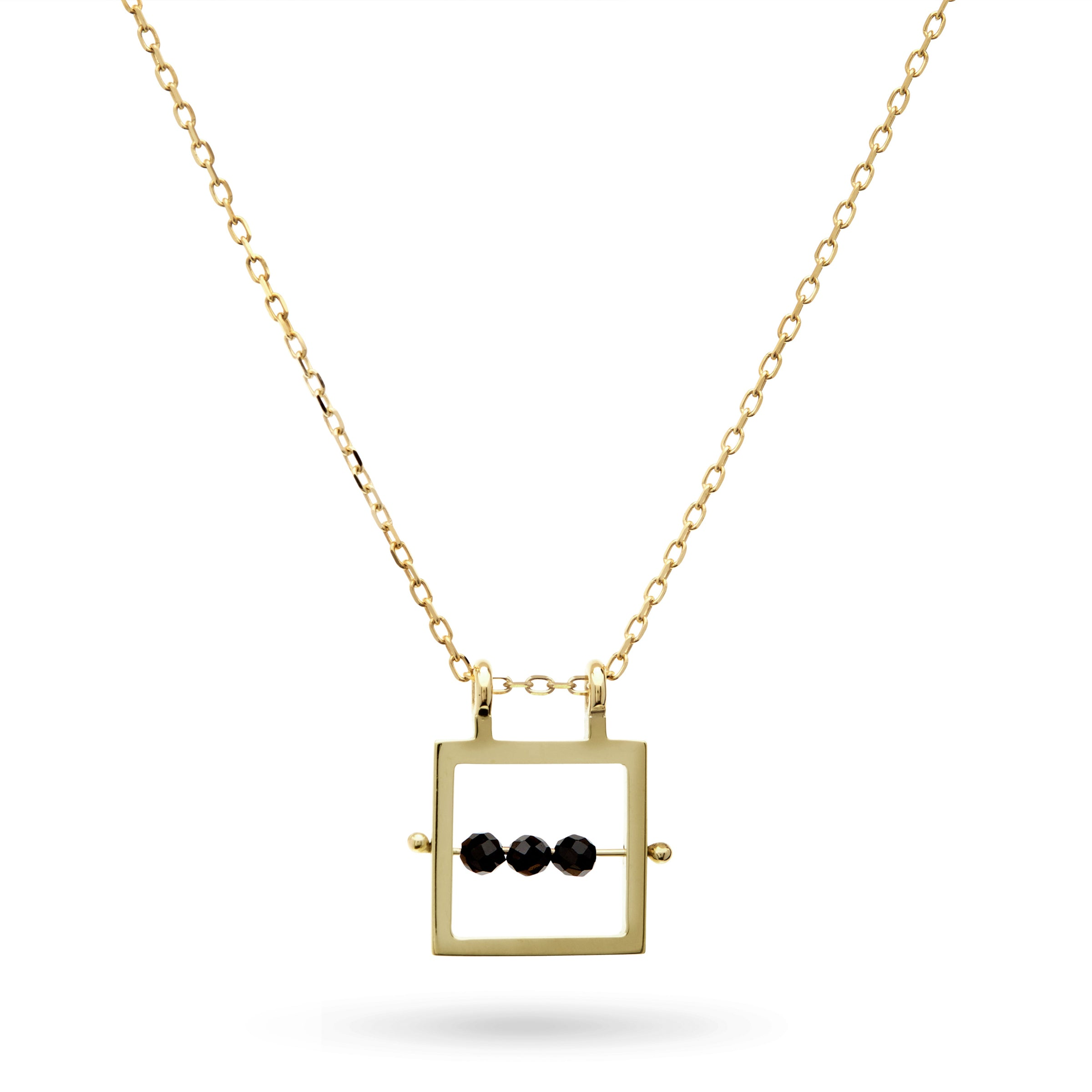 Square Black Spinel Abacus Necklace in Yellow Gold