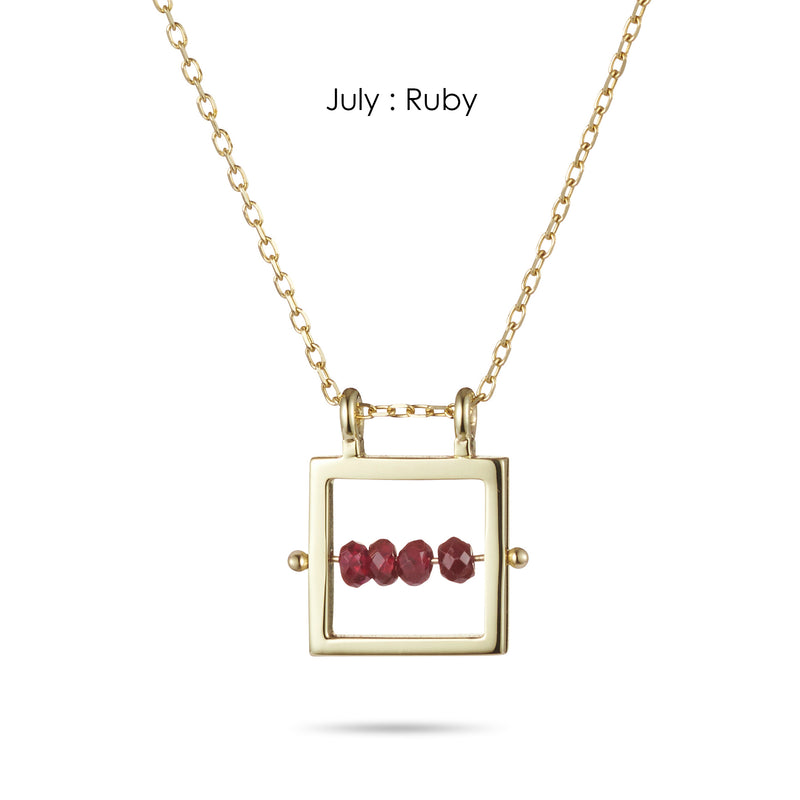 Square Birthstone Abacus Necklace in Yellow Gold