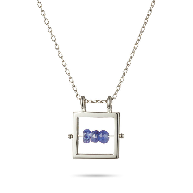Square Birthstone Abacus Necklace in Sterling Silver