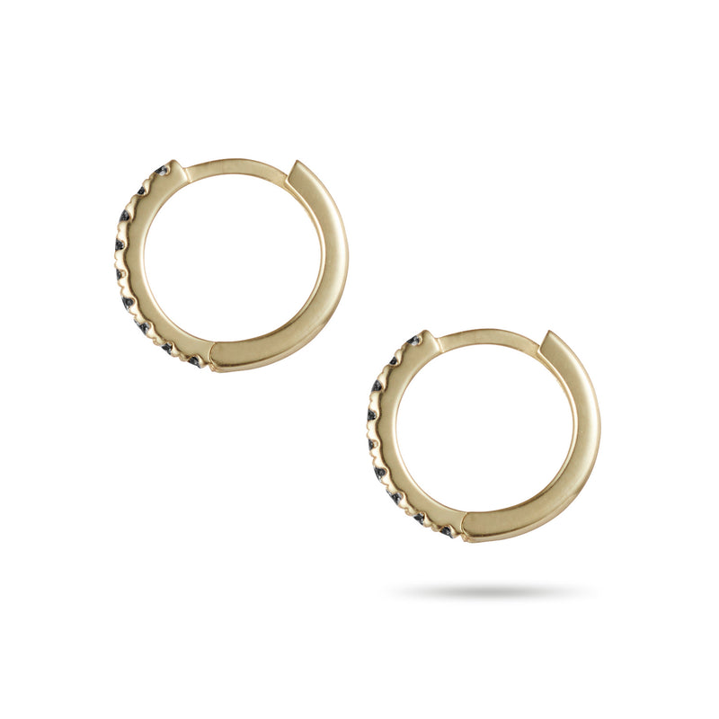Tiny Black Diamond Set Huggie Earring in Yellow Gold