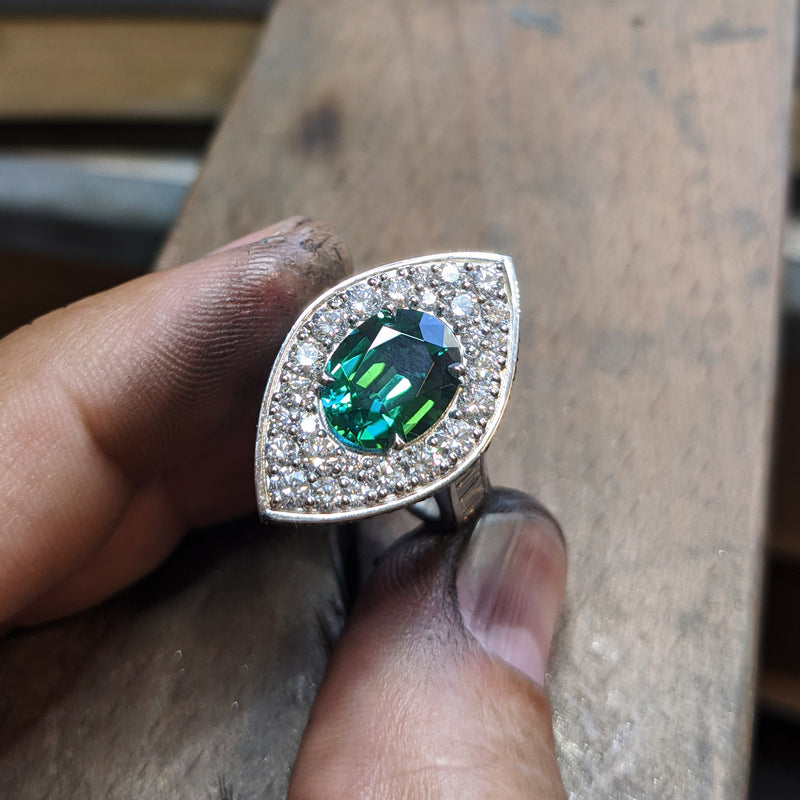 Green Tourmaline Ring by LUKE ROSE