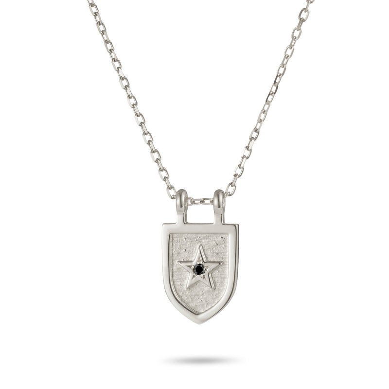 Protection Necklace Diamond Set in Sterling Silver