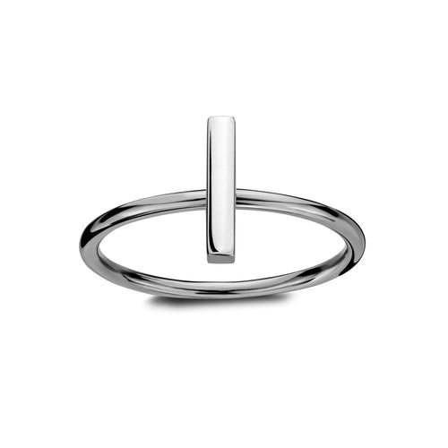 ELEMENTS Static Bar Ring Rhodium