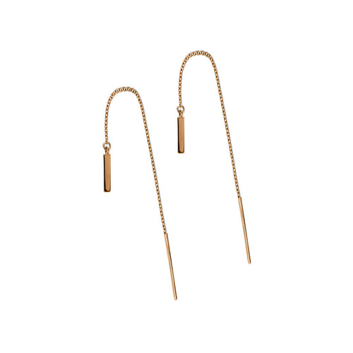 ELEMENTS Bar Thread Earrings Rose Gold