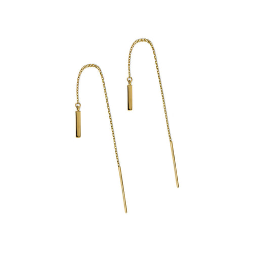 ELEMENTS Bar Thread Earrings Yellow Gold