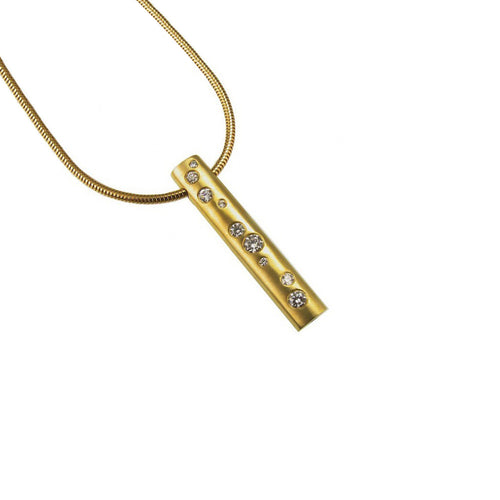 18ct Gold Diamond Scatter Bar Necklace