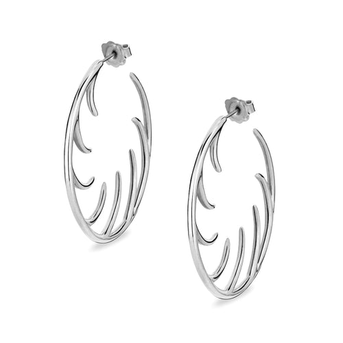 BLINK Big Full Lashes Hoop Earrings Rhodium