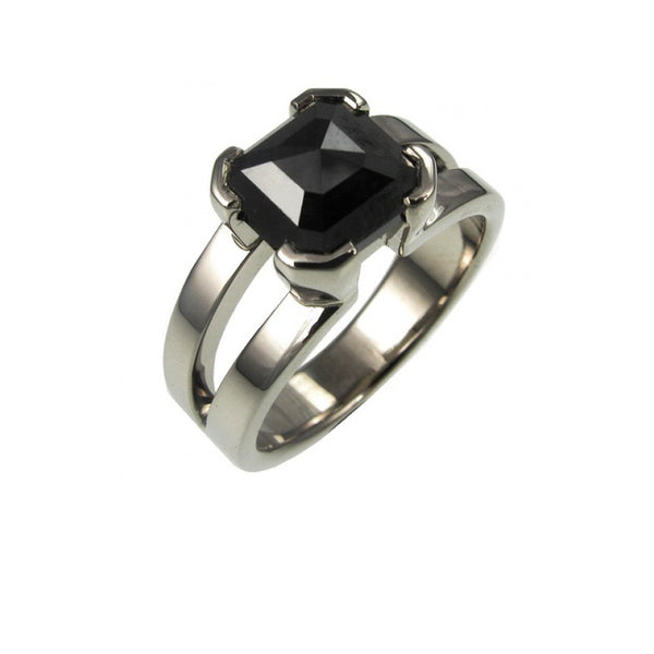 Custom Made Black Diamond Engagement Ring.