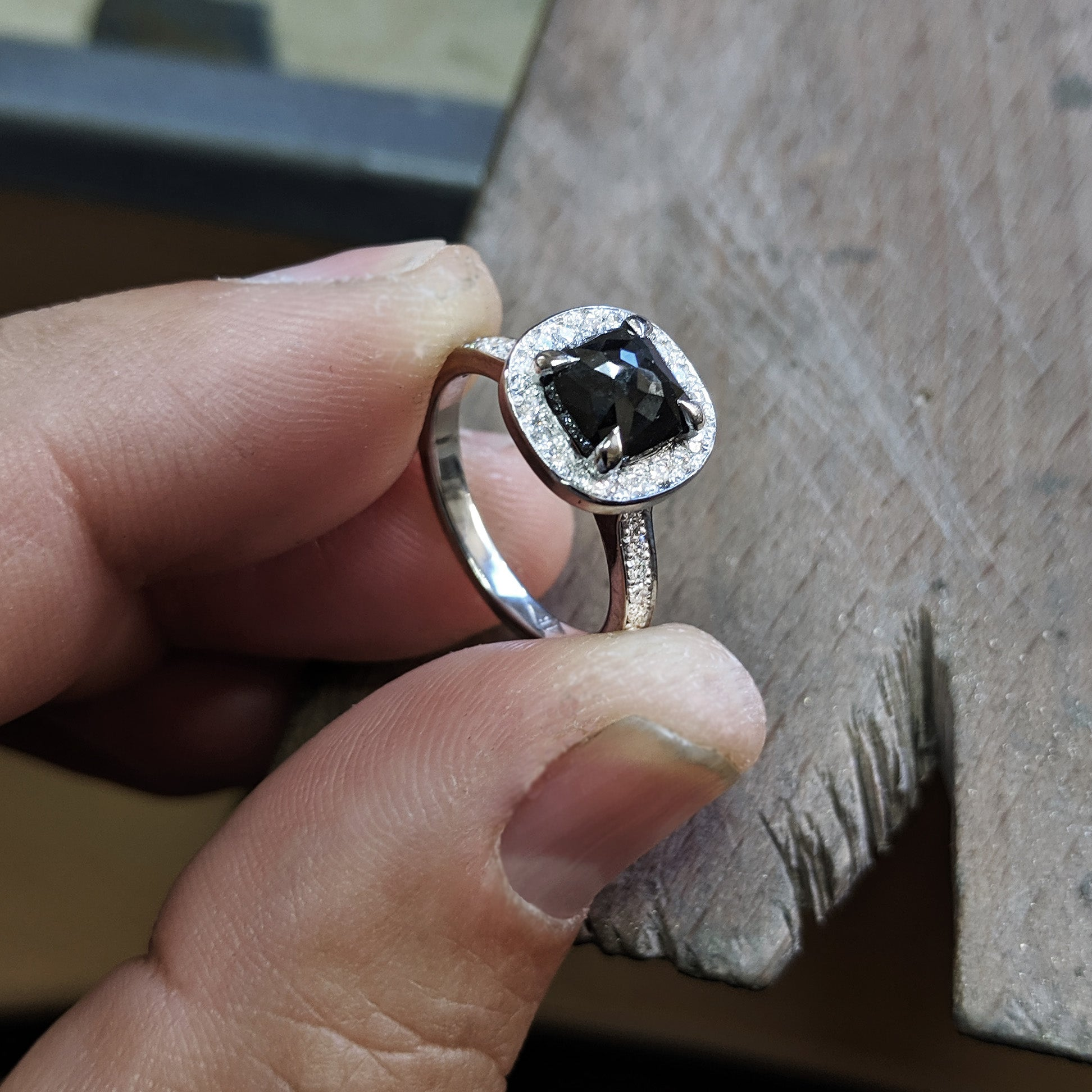 Bespoke Black Diamond Engagement Ring
