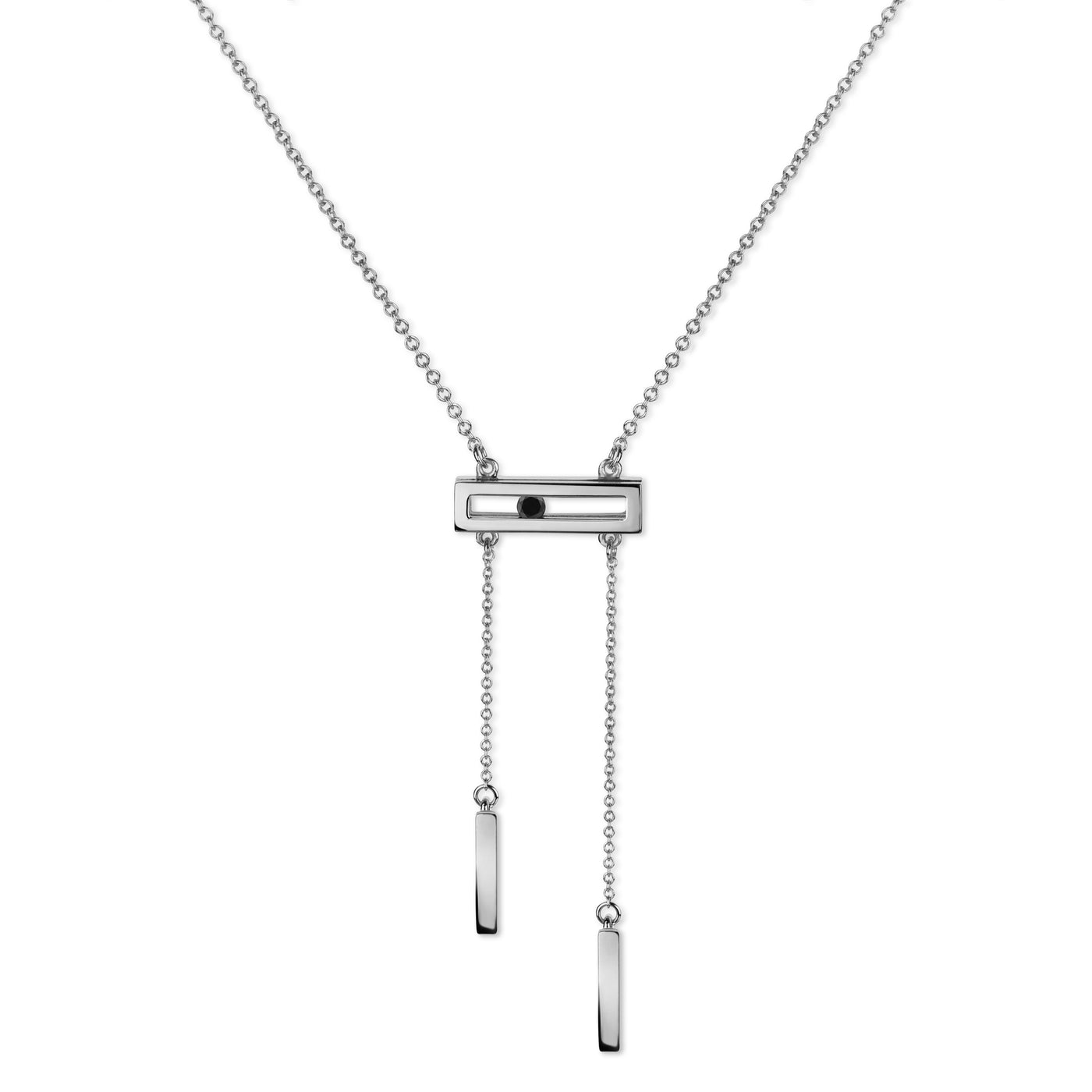 Luke Rose Jewellery white gold black diamond drop necklace