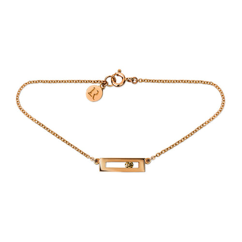 Champagne coloured sliding diamond bracelet rose gold