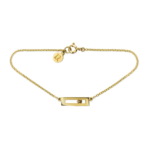 Champagne coloured sliding diamond bracelet yellow gold