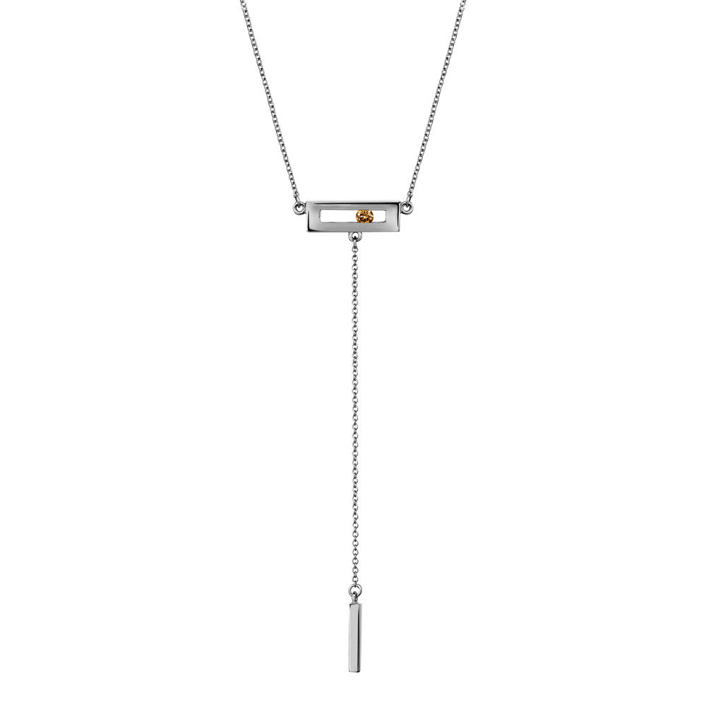 Champagne coloured sliding diamond drop necklace white gold