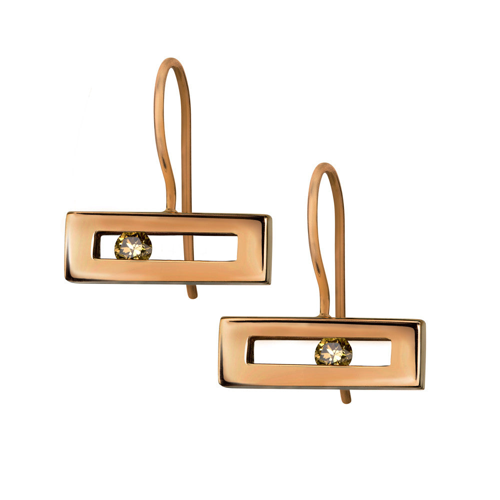 Champagne coloured sliding diamond hook earrings rose gold