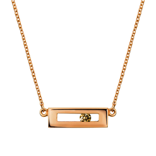 Champagne coloured sliding diamond necklace rose gold