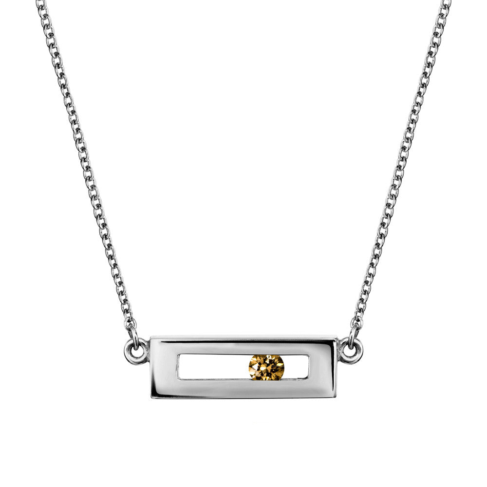 Champagne coloured sliding diamond necklace white gold