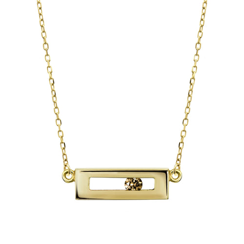 Champagne coloured sliding diamond necklace yellow gold