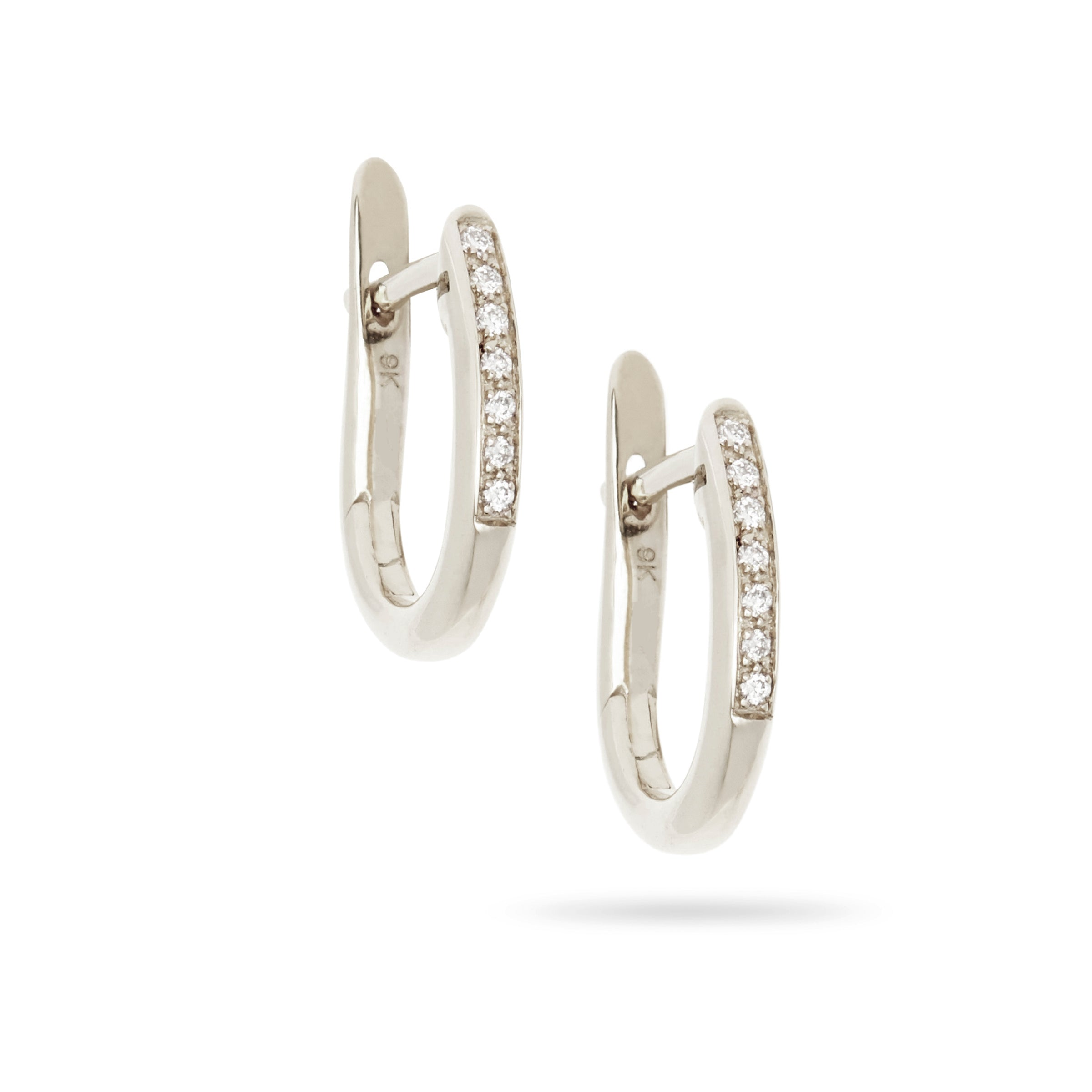 White Gold Diamond Hoop Earrings by Luke Rose