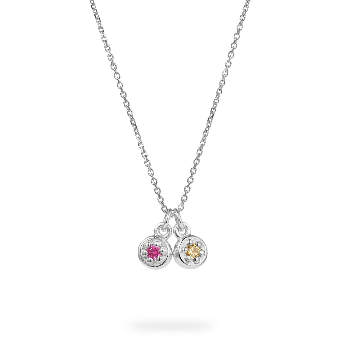 Luke Rose Jewellery silver pink and yellow sapphire necklace