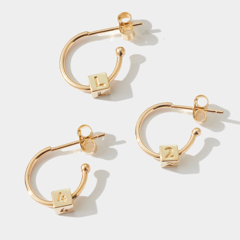 Pair of Initial Cube Earrings in Yellow Gold