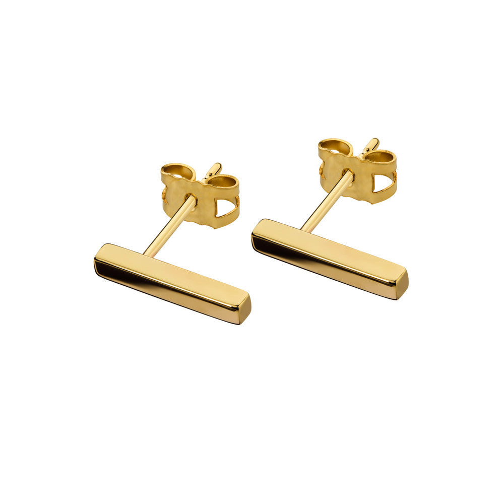 ELEMENTS Bar Stud Earrings Yellow Gold