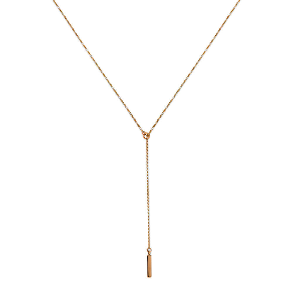 ELEMENTS Bar Lariat Necklace Rose Gold