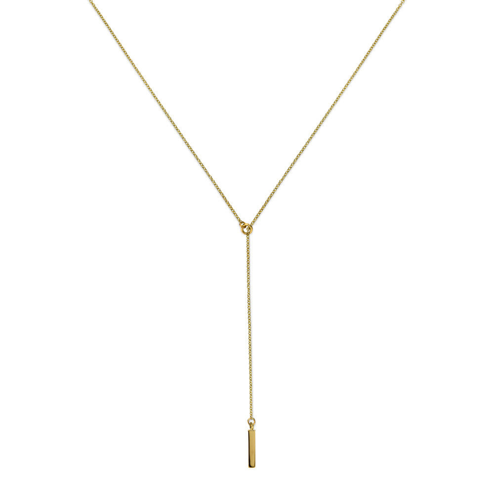 ELEMENTS Bar Lariat Necklace Yellow Gold