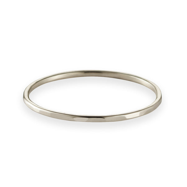 Fine Hammered Band in White Gold
