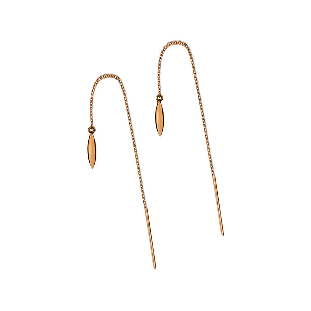 ELEMENTS Form Thread Earrings Rose Gold