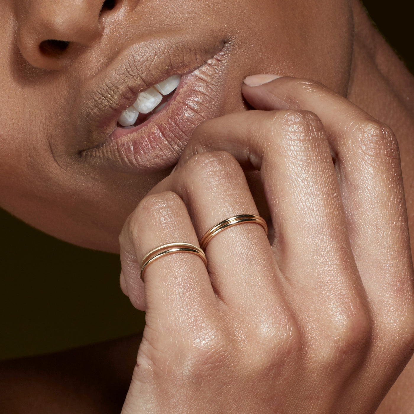 Luke Rose Jewellery gold halo stack rings