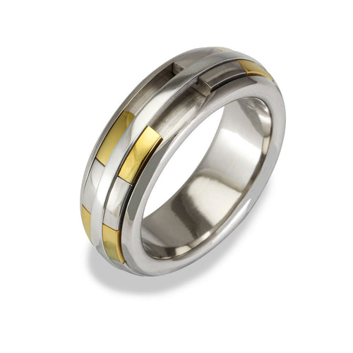 Mens REVOLVER Ring in 18ct White and Yellow Gold