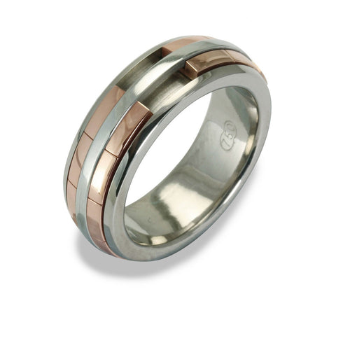 Mens REVOLVER Ring in 18ct White and Rose Gold