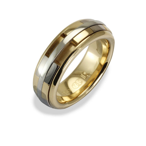 Ladies REVOLVER Ring in 18ct Yellow and White Gold