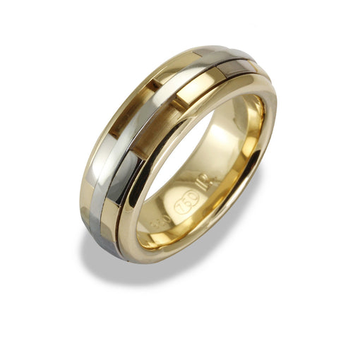 Mens REVOLVER Ring in 18ct Yellow and White Gold