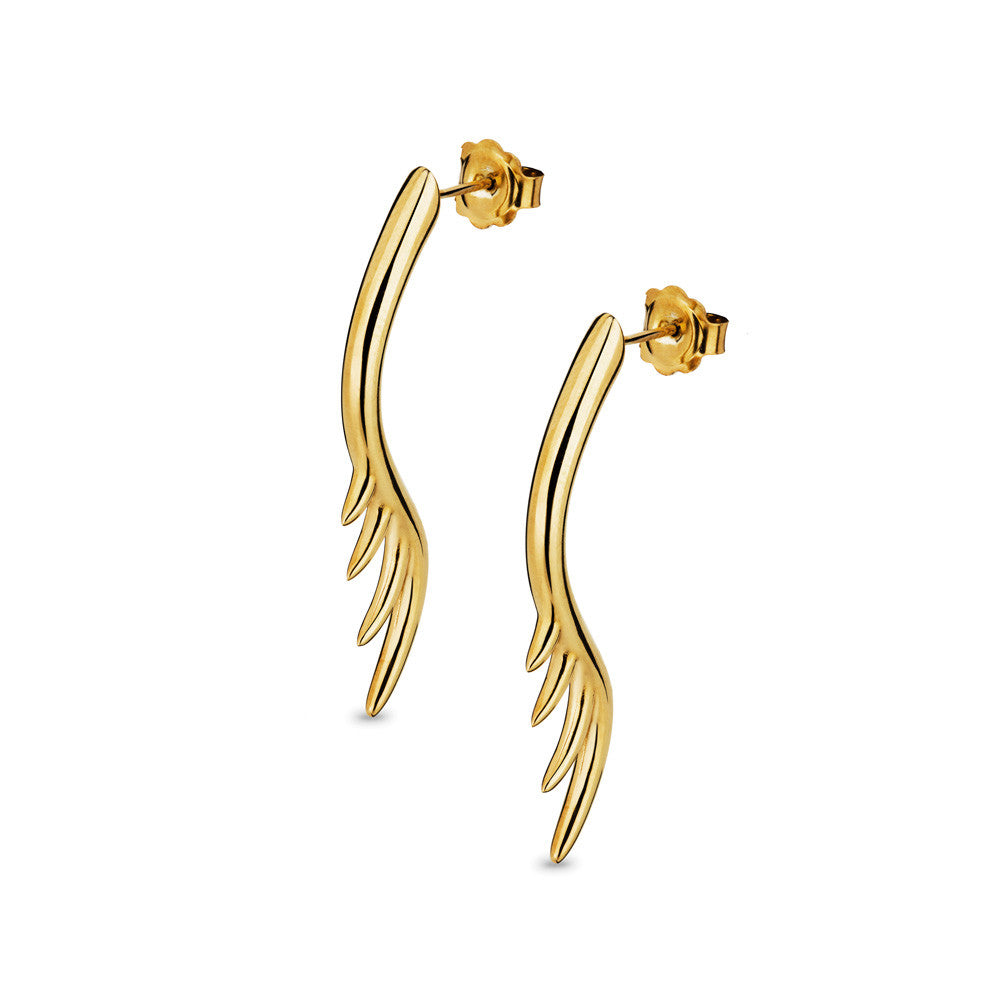 BLINK Long Lashes 4cm Bar Drop Earrings Gold