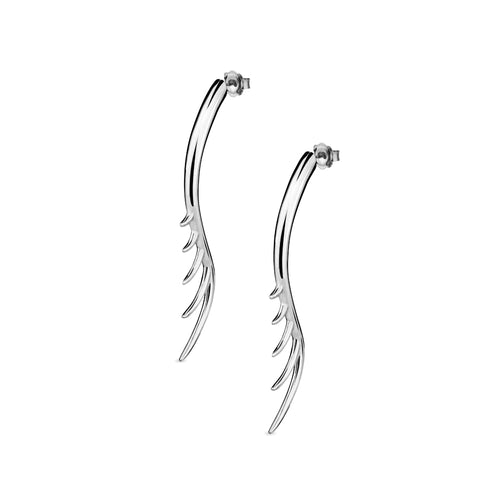 BLINK Long Lashes 7cm Bar Drop Earrings Rhodium