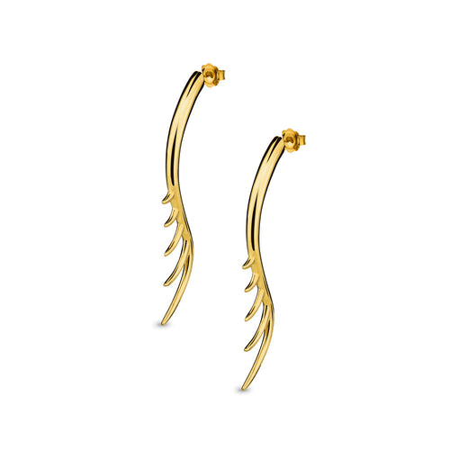 BLINK Long Lashes 7cm Bar Drop Earrings Gold