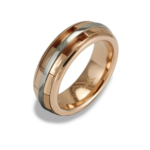 Mens REVOLVER Ring in 18ct Rose Gold